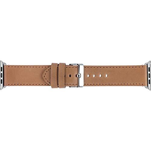 Preisvergleich Produktbild dbramante1928 - Copenhagen Uhrenarmband 42 / 44 mm - Armband für Apple Watch - Aus robustem,  hochwertigem Leder - Metallschnalle und Ösen - Hellbraun / Silber
