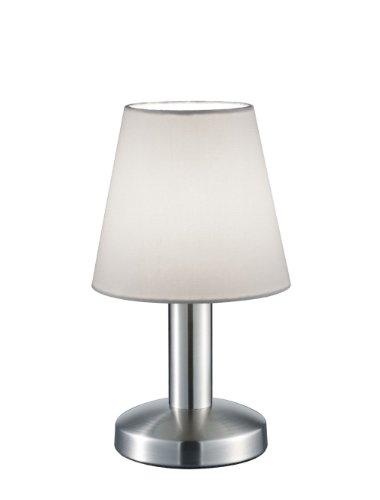 Trio Leuchten Tischleuchte in Nickel matt, Stoffschirm, weiß 599600101
