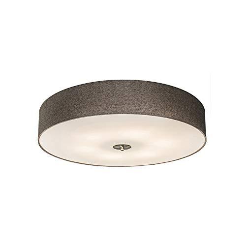 QAZQA Landhaus/Vintage/Rustikal/Modern Ländliche Deckenleuchte/Deckenlampe/Lampe/Leuchte taupe 70 cm - Drum mit Schirm Jute/Innenbeleuchtung/Wohnzimmerlampe/Schlafzimmer/Küche Glas