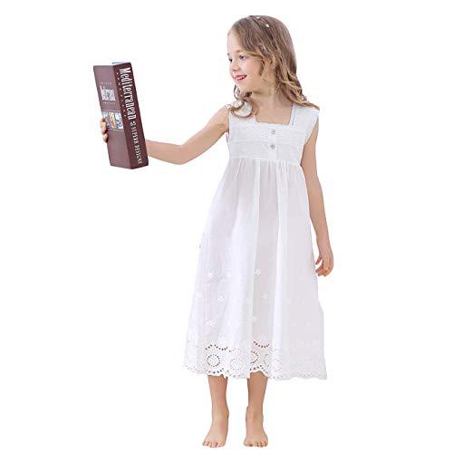 mama stadt Mädchen Sommer Nachthemden Weißer Schlafanzug Kleid Retro Besticktes Nachthemd Baumwolle Nachtwäsche 90-150CM