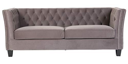 UK Handmade Chesterfield York 3 Seater Flat Pack Self Assembly Grey Velvet Sofa