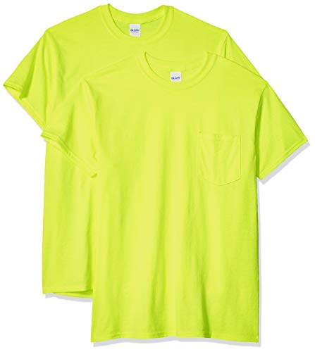 Gildan Men's Ultra Cotton Adult T-Shirt with Pocket, 2-Pack, Safety Green, Large
