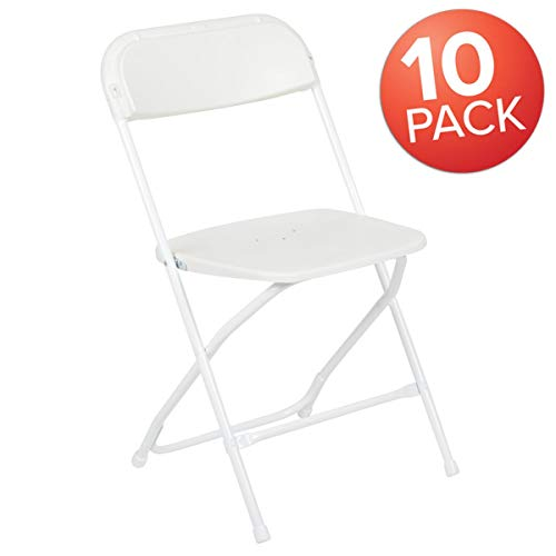 Price comparison product image Flash Furniture 10 Pk. HERCULES Series 650 lb. Capacity Premium White Plastic Folding Chair