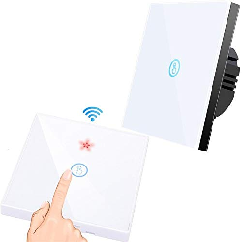 RLJJCS Blanco 1Gang Fresh Wireless Touch Switch Light 433MHz RF eliminado Control Panel de Pared de Pantalla de Cristal 110V 220V Lámpara LED