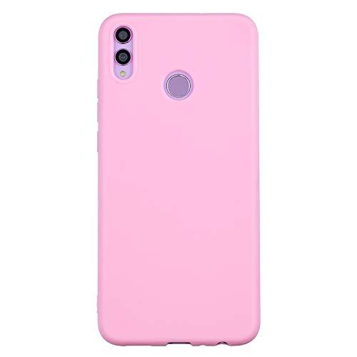 cuzz Custodia Huawei Honor 8X+{Film di Vetro temperato}Silicone TPU Cover Morbida Protettiva Custodia Ultra Sottile Leggero Cover-Rosa Scuro