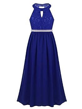 CHICTRY Kids Girls Halter Neck Chiffon Long Party Junior Wedding Evening Prom Maxi Gown Dress Royal Blue Beaded Waist  14