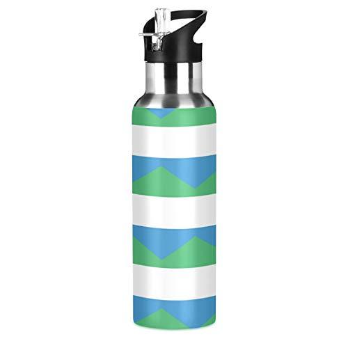 Botella de agua deportiva de acero inoxidable 304 con bandera de Sierra Leona, botella de agua aislada al vacío con paja
