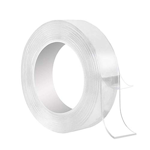 Washable Adhesive Tape, Hompie 10.5FT Traceless Reusable Clear Double Sided Anti-Slip Gel Pads,Removable Sticky Transparent Strips Grip for Glass, Metal, Kitchen Cabinets or Tile -3.2meter