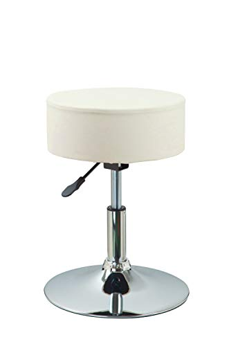Drehhocker Sitzhocker Hocker RUND höhenverstellbar drehbar aus Kunstleder Farbauswahl Duhome 428S, Farbe:Creme, Material:Kunstleder