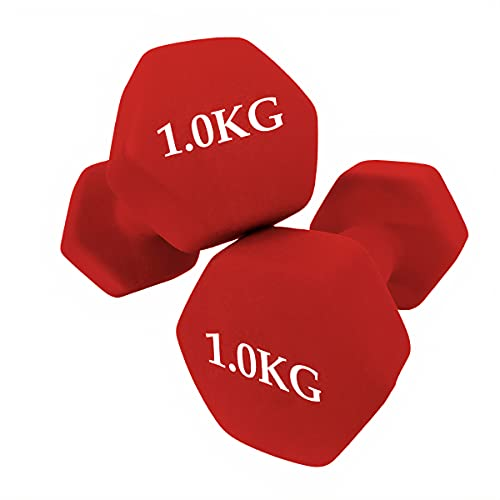 unycos - Set de 2 Mancuernas - Ejercicio Fitness - Pesas Cortas - Anti-Rodadura - Antideslizante - Hexagonales | Entrenamiento en Casa y Gimnasio (1 KG)