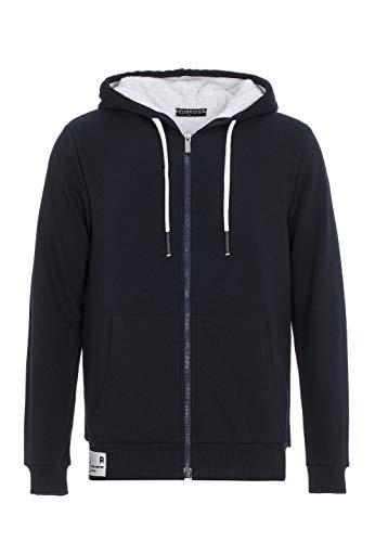 Pull à Capuche pour Homme Hoodie Veste de survêtement Fourrure synthétique Sweater avec Peluche Bleu S