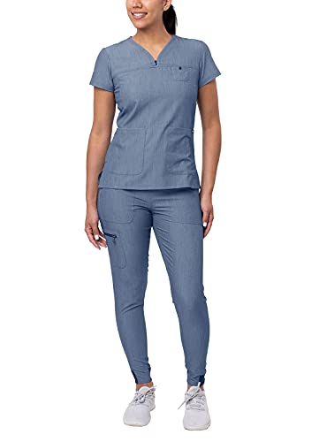 Adar Pro Heather Movement Booster Scrub Set for Women - Sweetheart V-Neck Scrub Top & Yoga Jogger Scrub Pants - P9400H - Heather Navy - M
