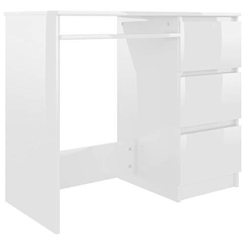 vidaXL Schreibtisch mit 3 Schubladen Computertisch Bürotisch Arbeitstisch Laptoptisch PC Tisch Büromöbel Hochglanz-Weiß 90x45x76cm Spanplatte
