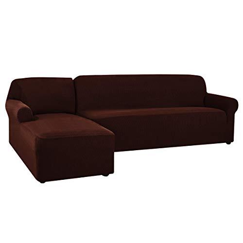 CHUN YI Sofa Überwürfe Sofabezug L Form Elastisch Jacquard Sofahusse für Ecksofa stretchbezug Couch mit 2 Stücke Abdeckhaube Sofaschoner (Links 2-Sitzer, Schokolade)