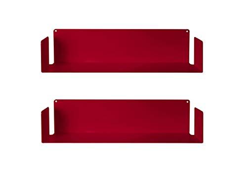 TEEbooks - Set of 2 Estanterías, Acero, Rojo, 60 x 15 x 15 cm