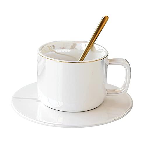 TYUXINSD Lujo Conjunto de Taza de café de cerámica nórdica con Cucharada de café Taza de té de la Taza de Invierno (Color: Verde) (Color : White)