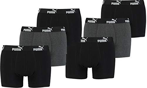 PUMA Herren Promo Style Boxer Boxershort ( 6er ) (L, Black/Black (003))