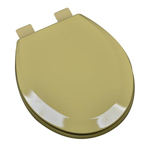 Bath Décor 1f1e5 53 Premium Molded Wood Elongated Toilet Seat With Adjustable Hinge Osg Harvest Gold Brickseek