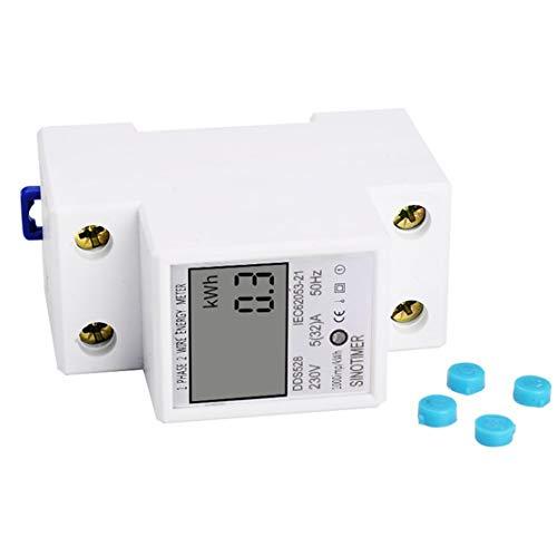 SINOTIMER Consommation /électrique monophas/ée Analyseur d/énergie Watt KWh AC 230V Moniteur dutilisation de l/énergie num/érique LCD Wattm/ètre Blanc