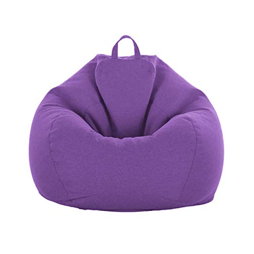 iBccly [No Filler] Bean Bag Chair Cover, Soft Bean Bags Chairs for Kids Teens | Stuffable Zipper Beanbag for Organizing Children Plush Toys for Garden Lounge Dorm Room (Purple, S-27.5'x 31.5')