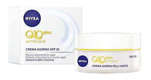 Nivea Q10 Power Antirughe Levigante Crema Giorno SPF15, con Coenzima Q10, Creatina, Estratti di Alga - 50 ml
