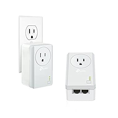 TP-Link AV600 2-Port Powerline Adapter w/Power Outlet Pass-Through Starter Kit, Up to 600Mbps (TL-PA4020P KIT)
