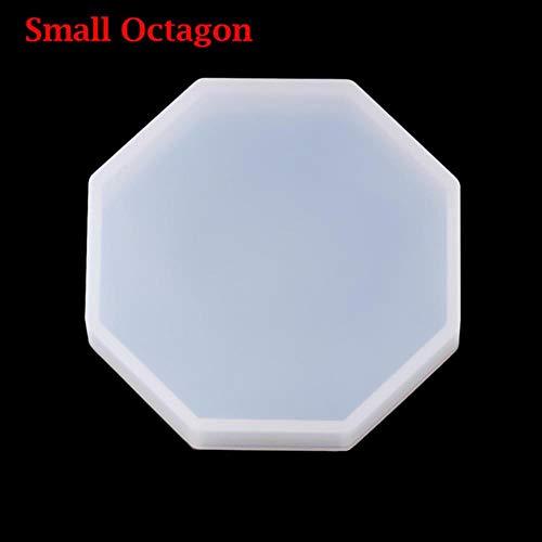 ZER 1PC Runde Silikongussformen Untersetzer Formherstellungsform, kleines Achteck