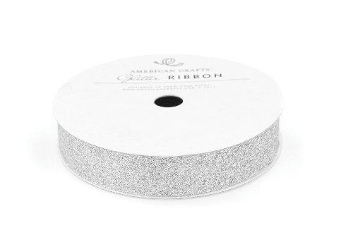 "American Crafts Ribbon Glitter Solid Silver 5/8"""