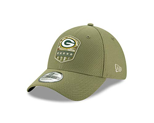 New Era Green Bay Packers 39thirty Stretch Cap On Field 2019 Salute to Service Olive - S-M