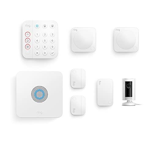 Kit de 7 piezas Ring Alarm de Amazon (2.ª generación) con Ring Indoor Cam | Sistema de seguridad para el hogar con vigilancia asistida opcional, sin compromisos a largo plazo