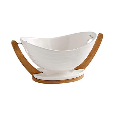 WYJBD Einfache Keramik Obstteller, kreativ Wohnzimmer moderner Ablaufkorb Couchtisch Wasserfilter