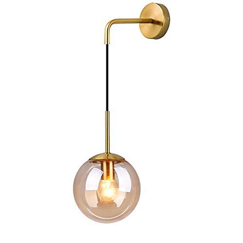 HJXDtech Industrial Vintage Loft Bar Lámpara de pared con globo de 20 cm Luz de la lámpara de lectura del pasillo del dormitorio Aplique de pared retro de esfera de vidrio ámbar (Latón Soporte)