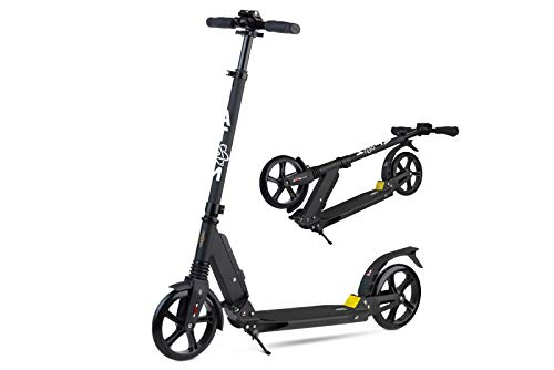 Atom Adult's Kick/Push Scooter | Foldable Frame | 2-Wheels & Dual Suspension | City Commuter