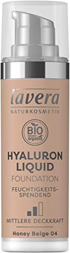 lavera HYALURON LIQUID FOUNDATION -Honey Beige 04- mit Bio-Mandelöl ∙ Make-Up Grundierung ∙ intensive Feuchtigkeit ✔ Naturkosmetik ✔ vegan ✔ Bio Inhaltsstoffe ✔ Natürlich & Innovativ, 30 ml