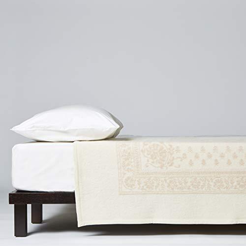 LANEROSSI Coperta Matrimoniale Maxi Provenzale, 100% Lana Vergine, 230x270 cm, Bianco/Rosa