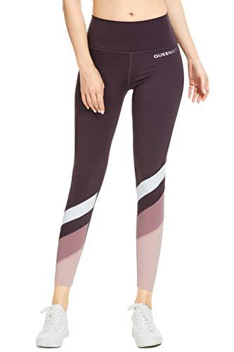 QUEENIEKE - Mallas deportivas para mujer, color bloqueado, con bolsillo en la cintura media, control de la barriga, gimnasio y fitness