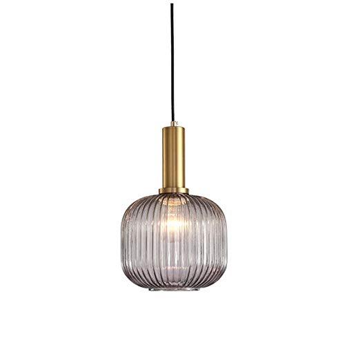 HJXDtech Industrial Vintage Medium Pendelleuchte Moderner Retro-Stil Drop Deckenleuchte Hängelampe Graues Glas Lampenschirm mit poliertem Messing Lampenfassung