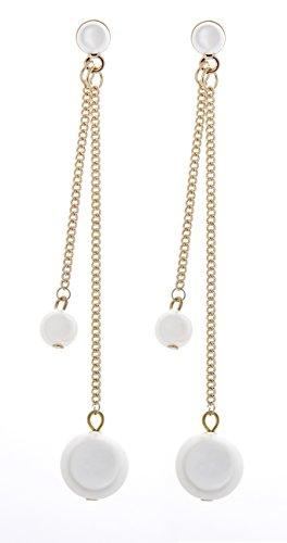 Boucles d'oreilles clips - plaqué or des chaînes avec des perles - Winona par Bello London