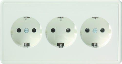 Gira 019940 Schuko stopcontact 3-voudig S-Color, zuiver wit