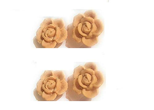 Label Provence - Lot de 4 Savons formes roses - couleur Orange - 30 gr x 4
