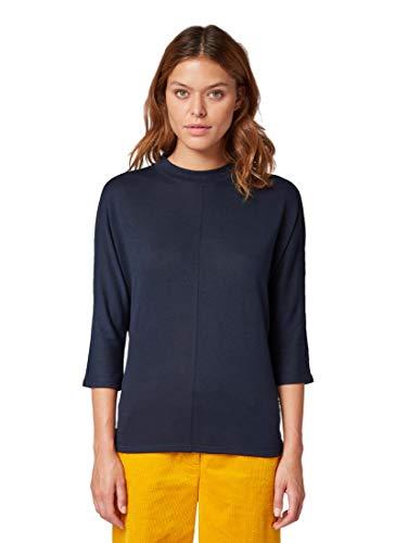 TOM TAILOR Damen T-Shirts/Tops 3/4 Arm Shirt mit Fledermausärmeln Sky Captain Blue,M