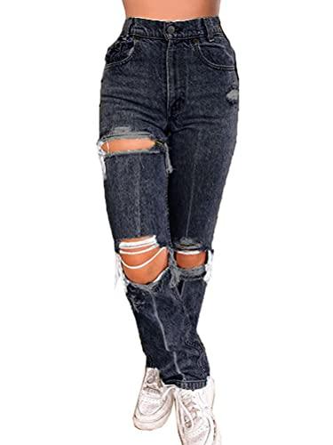 ORANDESIGNE Damen Stretch Straight Jeans Löchern Baggy Boyfriend Jeanshose Teenager Mädchen Lässig Denim Hosen Weich Pants Freizeithose 06 Schwarz M