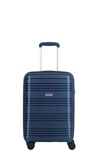 travelite 4-Rad Koffer Handgepäck Hartschale mit TSA Schloss erfüllt IATA-Bordgepäckmaß, Gepäck Serie ZENIT: Robuster Hartschalen Trolley in unverwechselbarer Optik, 075747-20, 55 cm, 36 L, blau