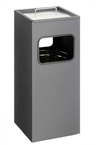 Durable 333158 Posacenere a Colonna Quadrato, con Sabbia e Cestino, Acciaio Verniciato, 250 x 620 x 250 mm, Carbone