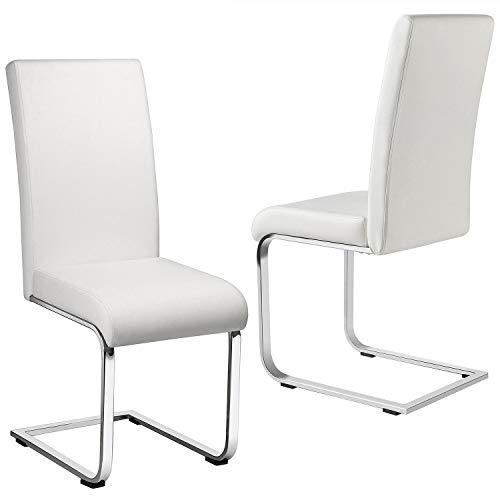 Yaheetech Esszimmerstühle 2er Set Esszimmerstuhl Schwingstuhl Essgruppe, 135 kg belastbar Weiß Kunstleder