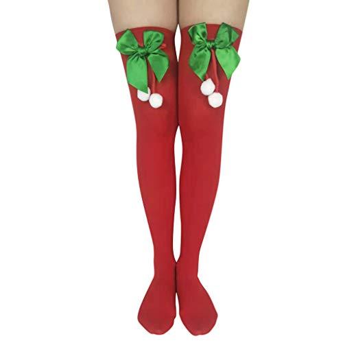 PPangUDing 1Paar Weihnachtssocken Damen Overknee Strümpfe Lange Socken Compression Kniestrümpfe, Sexy Christmas Printed Gemütlich Super Weiche Kuschelsocken Mädchen Tägliche Abnutzung Geschenke