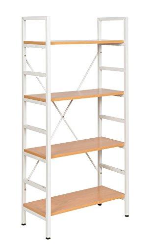 ts-ideen Mensoliera fibra di legno (MDF) scaffali in metallo bianco apparenza di legno 124 x 60