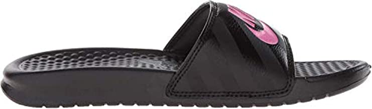 Nike Women's Benassi Just Do It Sandal, Black/Vivid Pink, 8 B(M) US