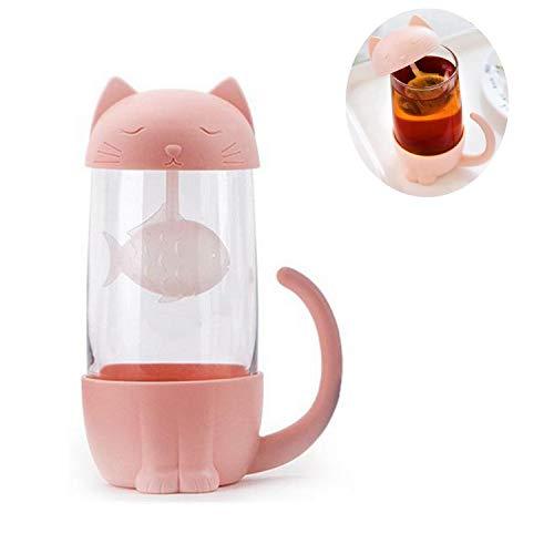 N\A Jiexue Gatto Carino Tazza da tè 280 ml Tazza da tè in Vetro Gatto Tazza da tè con infusore da tè Tazza da caffè per Viaggi in Ufficio a casa