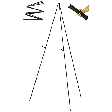 US Art Supply Easy-Folding Easel Black Steel 63  Tall Display Easel
